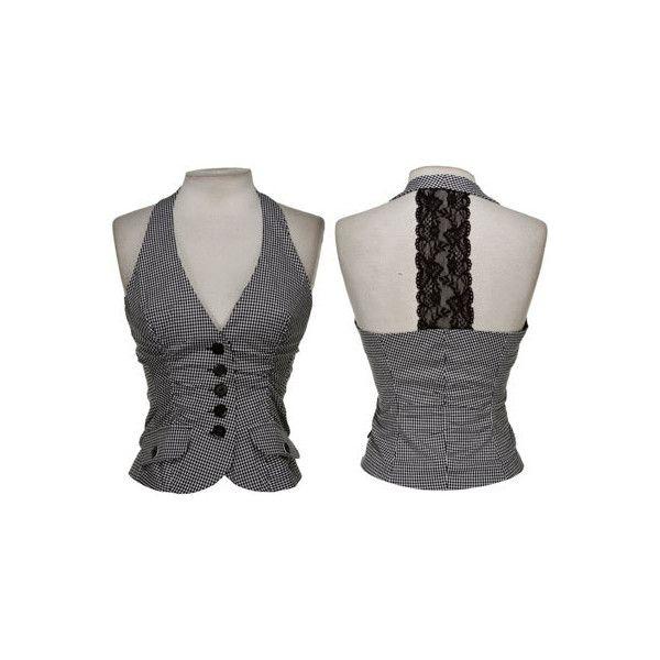 15DOLLARSTORE.COM - SELE Stretch Gingham Lace Halter Vest (16 CAD) found on Polyvore