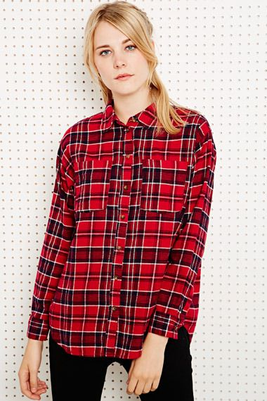 BDG Flannel Shirt in Red