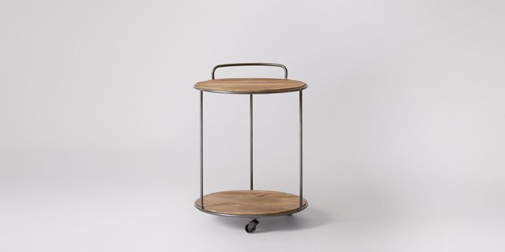 Swoon Editions Bar trolley, industrial-style in pine and steel - £129