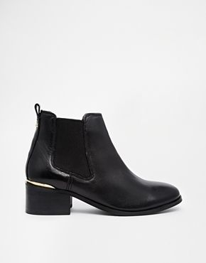 Carvela Toby Black Leather Chelsea Boots with Metal Heel Trim - Black on shopstyle.co.uk