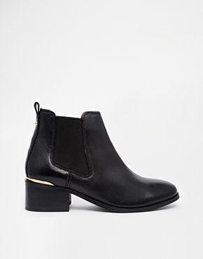 Carvela Toby Black Leather Chelsea Boots with Metal Heel Trim - Black on shopstyle.co.uk