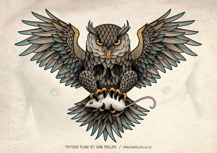 Owl Skull Tattoo by Sam-Phillips-NZ.deviantart.com on @deviantART