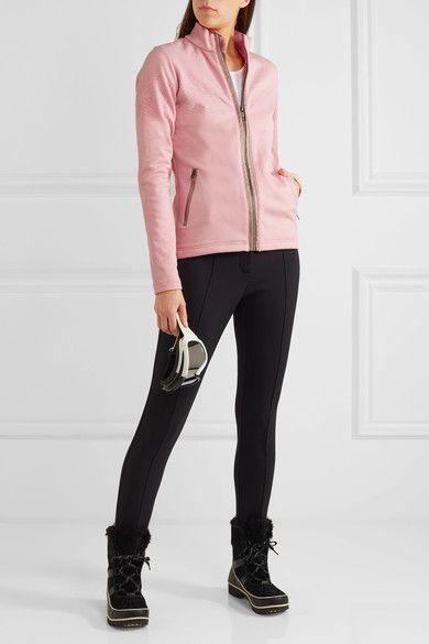 Pastel-pink flocked stretch-jersey, antique-rose satin  Zip fastening through front 93% polyester, 7% elastane Machine wash Designer color: Bridal Rose