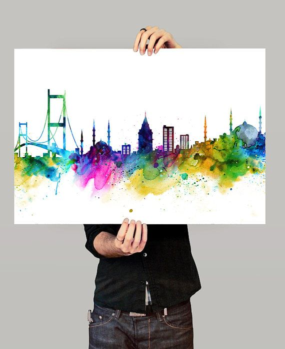 Istanbul Skyline Istanbul Cityscape Istanbul by FineArtCenter