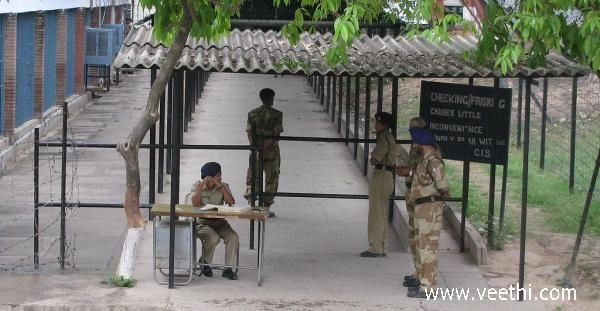 Central Industrial Security Force check point at Chandigarh Secretariat