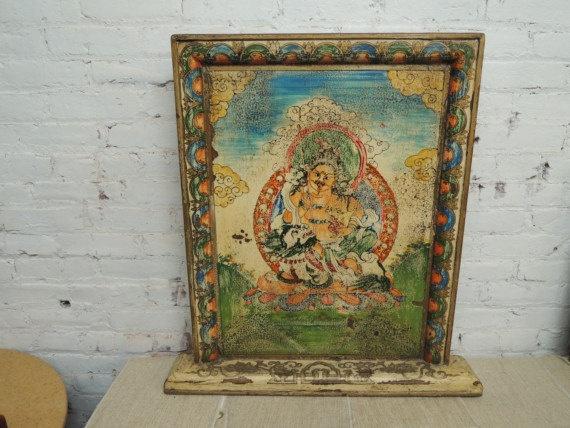 Tibetan Buddha Fireplace Screen in Cream Los Angeles by ModernRedLA, $325.00