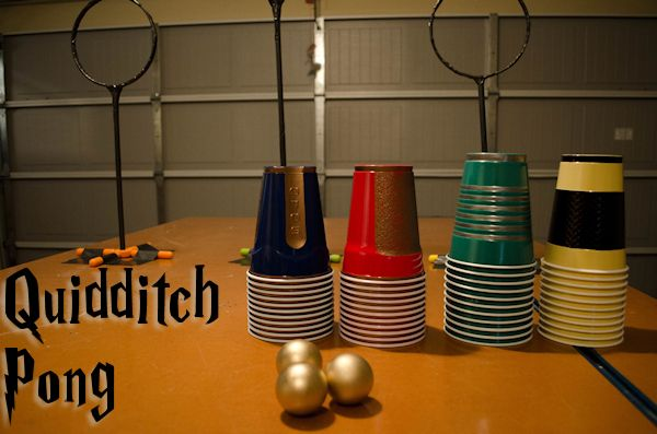 One method:  Quidditch Pong