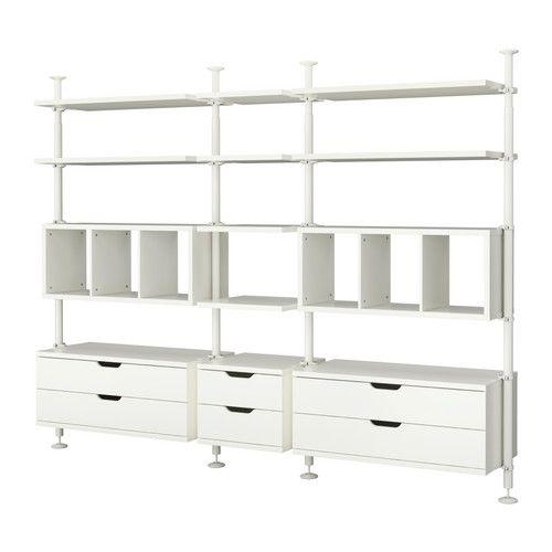 IKEA - STOLMEN, 3 elementen, , In hoogte verstelbaar van 210-330 cm, waardoor de gehele plafondhoogte benut kan worden.Kan worden gemonteerd in plafond of wand.Wil je de binnenkant op orde houden, dan kan je het geheel completeren met de SKUBB bakken set van 6.De lade sluit de laatste centimeters vanzelf.Loopt soepel. Met blokkeerstuk.