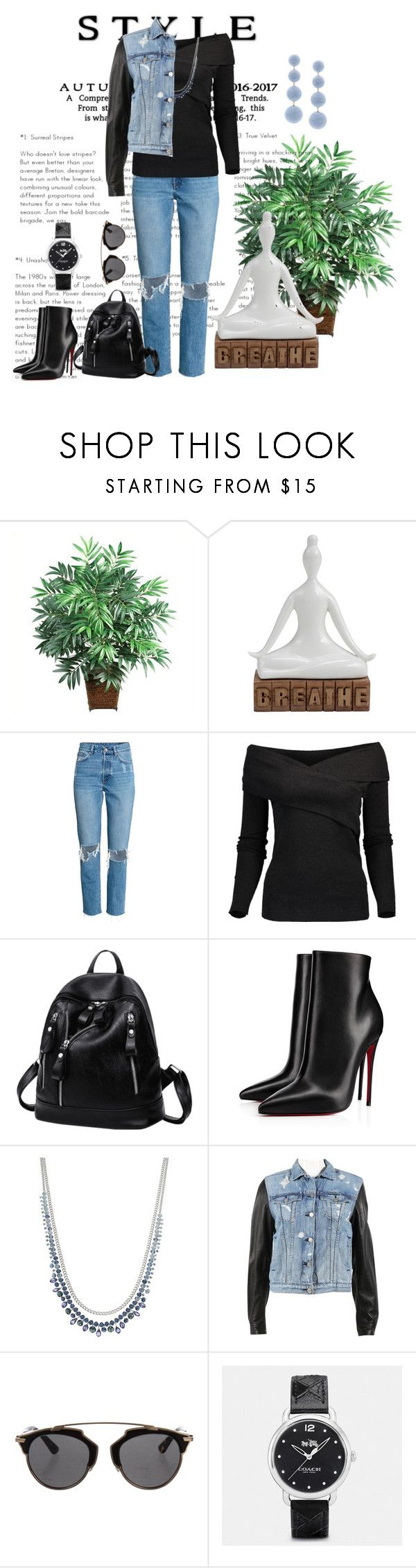 """""""👖"""" by paula-parker ❤ liked on Polyvore featuring Nearly Natural, Brunello Cucinelli, Christian Louboutin, Simply Vera, rag & bone, Christian Dior, Coach and Rebecca de Ravenel"""