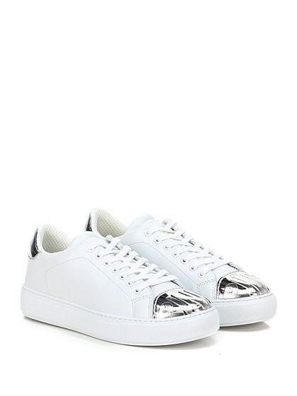 Pinko - Sneakers - Donna - Sneaker in pelle e pelle specchiata con suola in gomma, tacco 35. - BIANCO\ARGENTO - € 195.00
