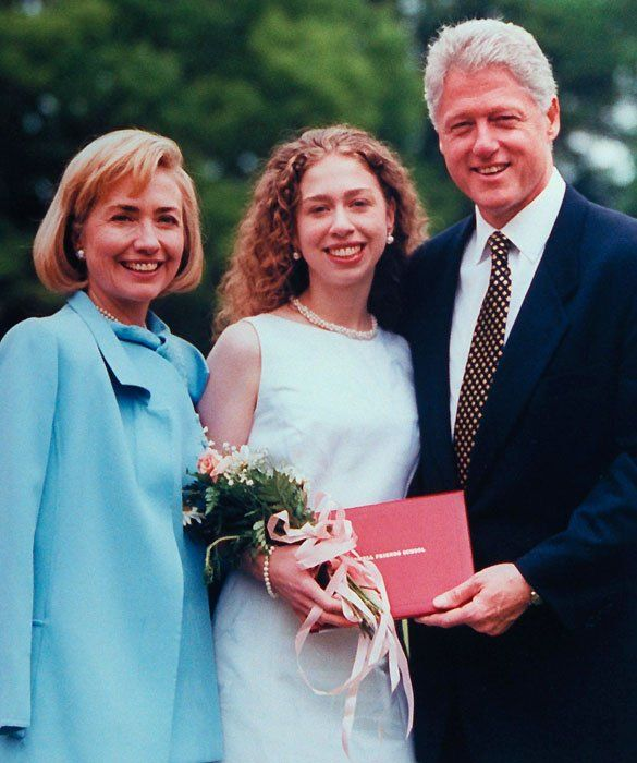 Chelsea Clinton Then     Father: President Bill Clinton    Chelsea Clinton literally grew up before America's eyes. She entered the White House as First Daughter at the tender age of 12, and then packed her bags for Stanford six years later during her father's second term.