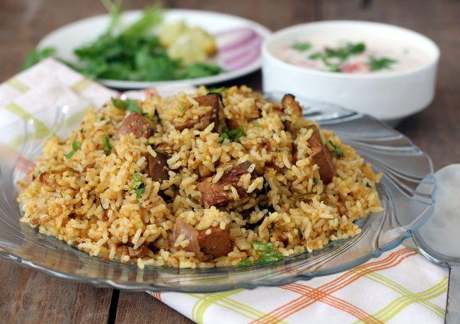 An exotic Indian rice dish, Jackfruit biryani (made with tender jackfruit). Recipe - http://www.sailusfood.com/2013/04/26/jackfruit-biryani-recipe-kathal-panasa/