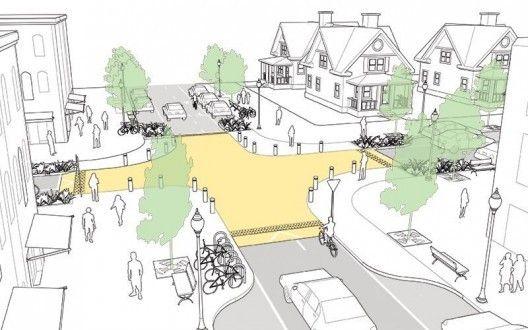 Quatro dicas para projetar cruzamentos mais seguros,Cruzamento elevado. Imagem via Plataforma Urbana