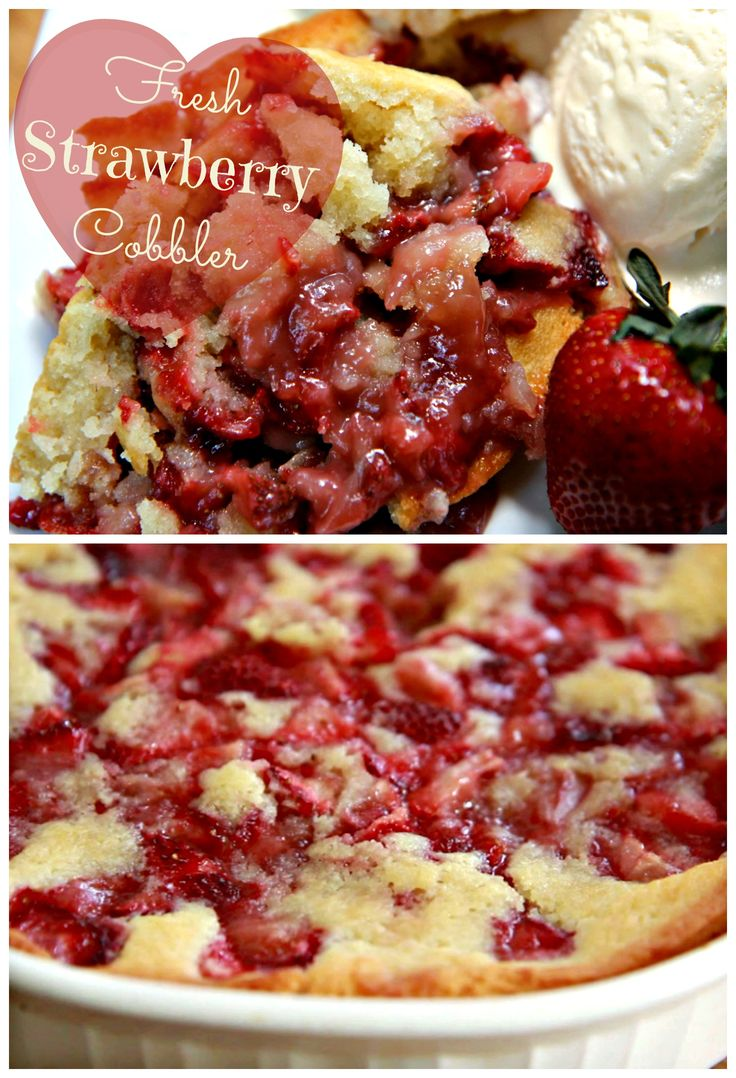 Fresh Strawberry Cobbler, with a crust to absolutely die for! Thanks @Divas Can Cook