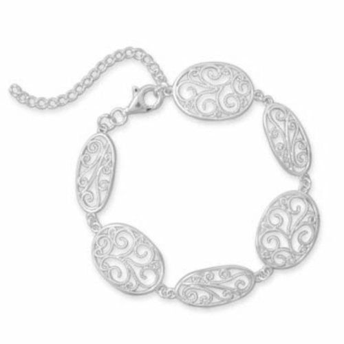Sterling Silver 6.5 Inch +2 Inch Link Bracelet with Filigree Design Sterling Silver Collection. $77.96. Save 25%!
