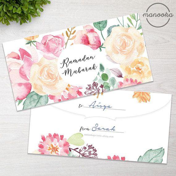 Watercolor Floral Calligraphy Ramadan Eid Mubarak Diy Gift Money