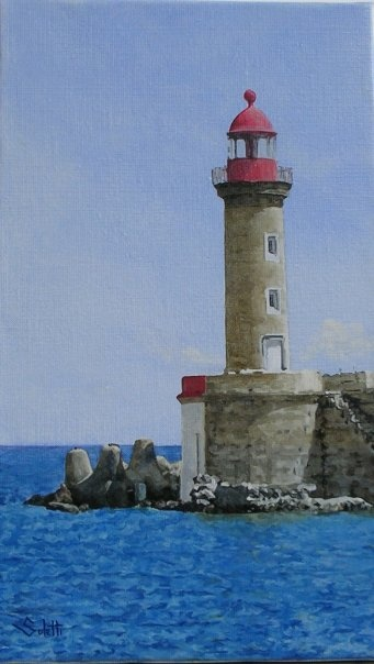 Phare rouge  Huile sur toile