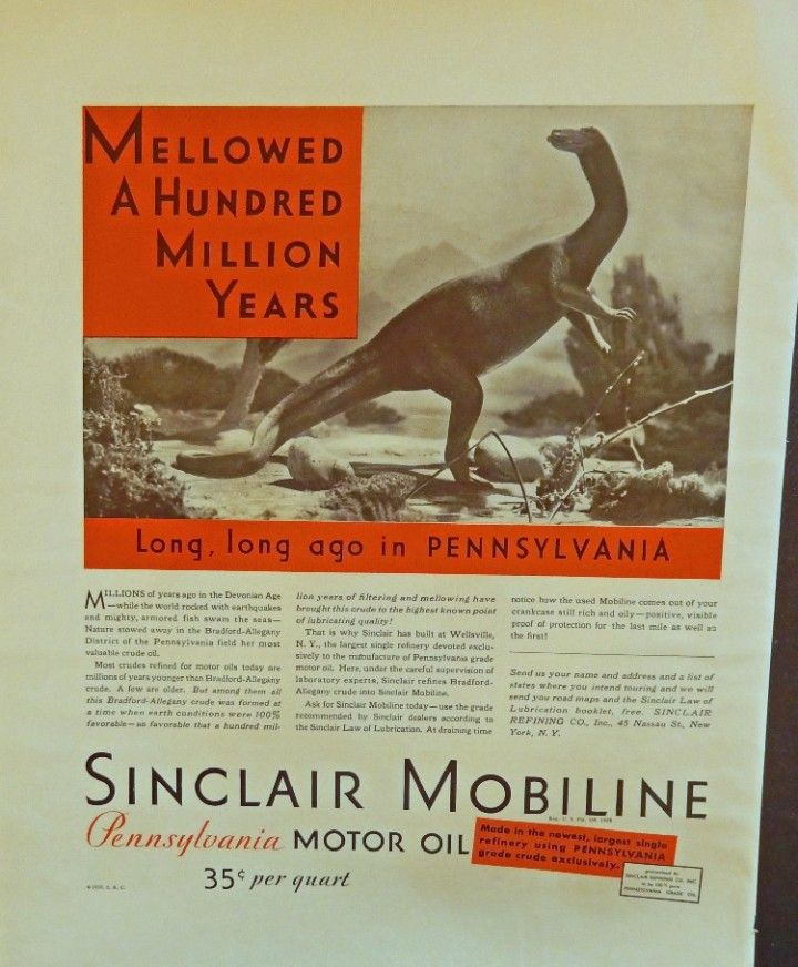 Sinclair Mobiline Motor Oil  30 s print ad  Full Color Illustration   dinosaur  Fortune Magazine Art
