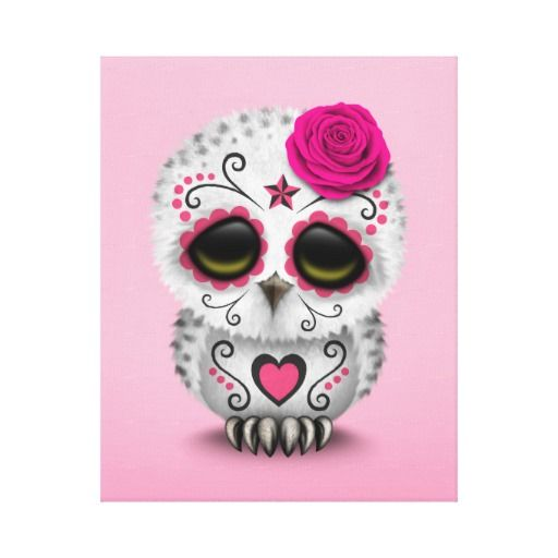 Cute Pink Day of the Dead Sugar Skull Owl Stretched Canvas Prints