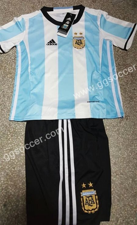 Cheap soccer jersey from topjersey 2016-17 Argentina Home Blue and White Kid/Youth Soccer uniform-Argentina,Youth and Kid set| topjersey