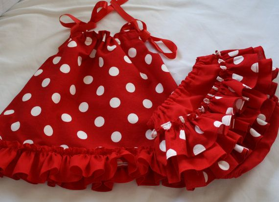 Baby Pillowcase Dress and ruffle bloomers Red & White Polka by AllAboutTheGlam on etsy