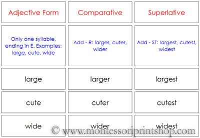 Comparatives & Superlatives - Printable Montessori Grammar materials for Montessori Learning at home and school.