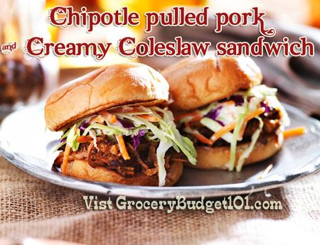 Chipotle Pulled Pork & Creamy Coleslaw Sandwiches - The spicy chipotle pork offers a little kick, but is nicely balanced with cool, refreshing coleslaw.