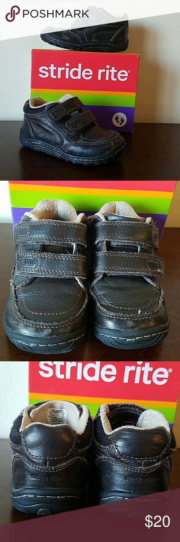 """Stride Rite, Boys 7.5, """"Pierce"""", Genuine Leather Very nice pair of brown Stride Rite """"Pierce"""" leather shoes with double velcro closure. A few scuffs on the front but otherwise in good condition ?? Stride Rite Shoes Boots"""