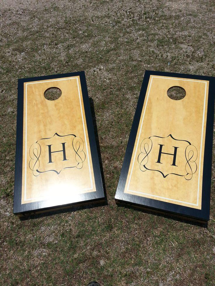wedding monogram cornhole board set builds custom cornhole boards and cornhole - Cornhole Sets