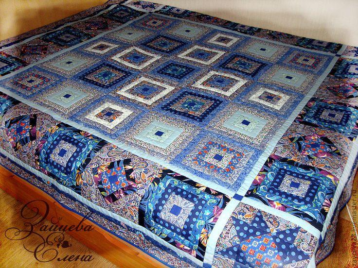 Купить лоскутное одеяло Сапфировый ларец - синий, сапфир, сапфировый цвет, голубое, синее одеяло