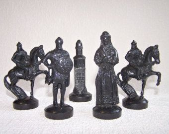 Vintage Chess Pieces. Set of 6 Old Slavic от FlightFromTheFaraway