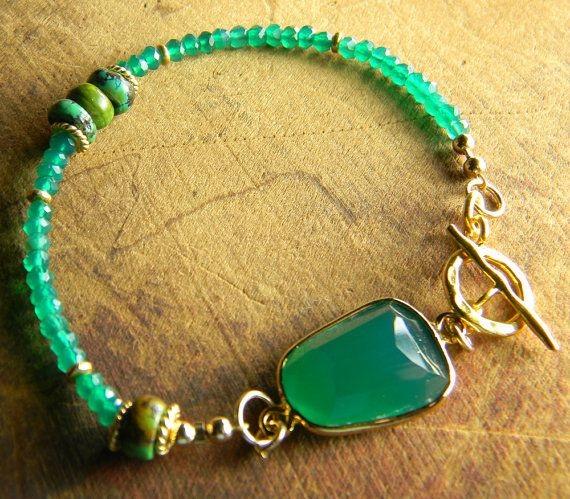 Green Onyx Bracelet Gold Vermeil Turquoise One of by ChrysalisToo, $82.00
