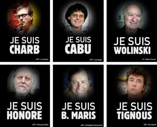 """Voici la liste des victimes : - Jean Cabut, dit """"Cabu"""", 76 ans. - Stéphane Charbonnier, dit """"Charb"""", 47 ans. - Philippe Honoré, dit """"Honoré"""", 73 ans. - Bernard Verlhac, dit """"Tignous"""", 57 ans. - Georges Wolinski, dit """"Wolinski"""", 80 ans. - Bernard Maris, """"Oncle Bernard"""", 68 ans. - Elsa Cayat, 54 ans. - Mustapha Ourrad, correcteur de Charlie Hebdo. - Michel Renaud, 69 ans. - Frédéric Boisseau, 42 ans. - Franck Brinsolaro, 49 ans. - Ahmed Merabet, 42 ans."""