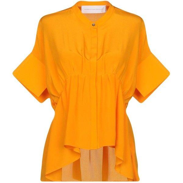 Victoria Beckham Shirt (6 355 UAH) ❤ liked on Polyvore featuring tops, orange, short-sleeve shirt, short sleeve tops, orange shirt, short sleeve shirts and victoria beckham top