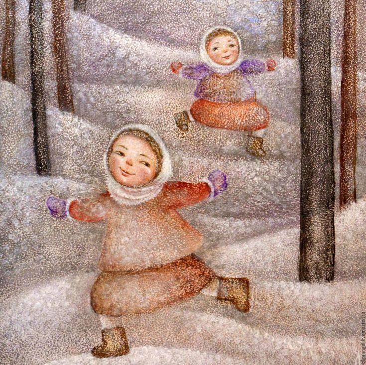 Купить Зимние забавы - дети, детство, зима, игра, Снег, церковь, храм, деревья, девочка