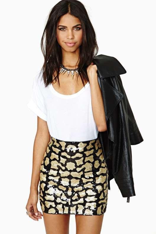 Far Out Feline Sequin Skirt