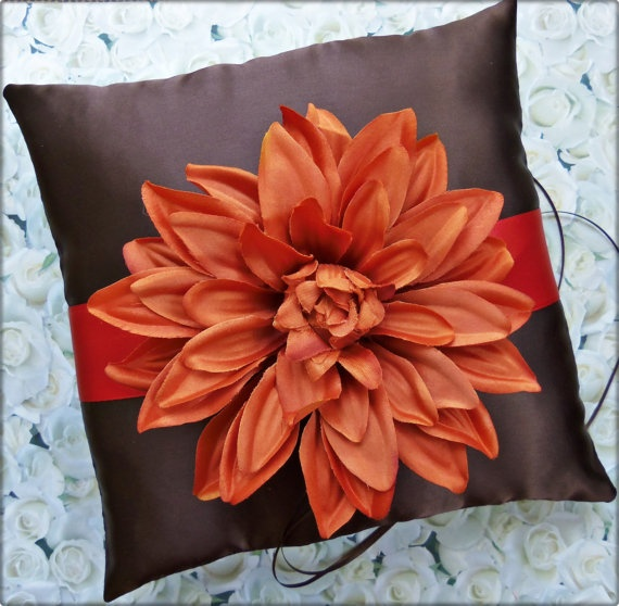 Wedding Ring Pillow Persimmon and Chocolate Brown