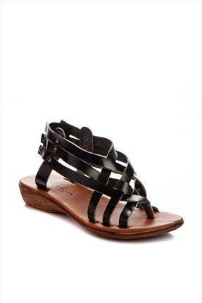 Hakiki Deri Siyah Sandalet 101K26 Shoes Time   Trendyol