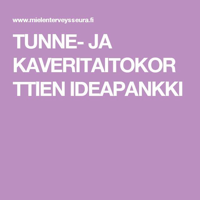 TUNNE- JA KAVERITAITOKORTTIEN IDEAPANKKI