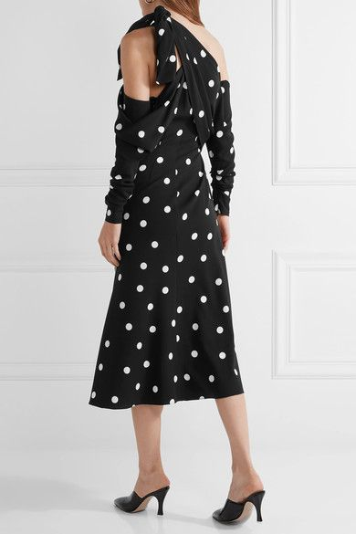 Monse - Cold-shoulder Polka-dot Silk-blend Crepe Midi Dress - Black - US
