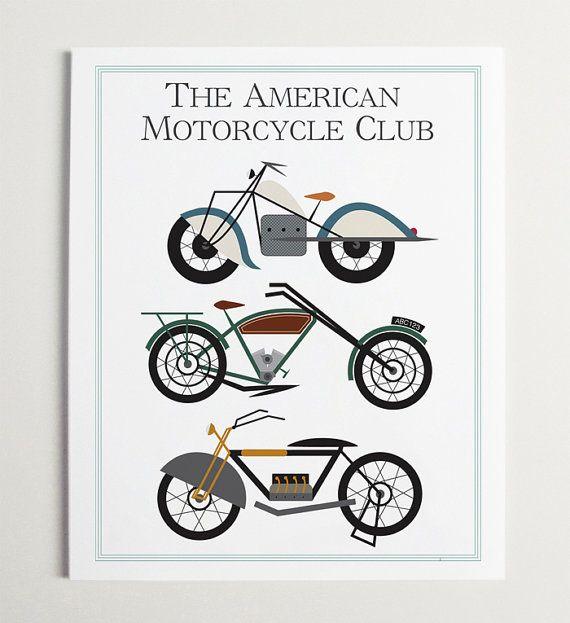 Le Club de moto américaine voiture impression par par ModernPOP