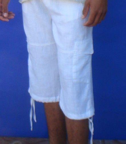 Linen Beach Shorts / Pants Men's Capri - Draw String White for Yoga #COMPANEROS…