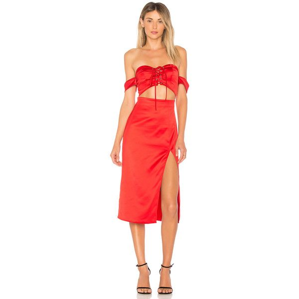 NBD Meagan Midi ($200) ❤ liked on Polyvore featuring dresses, sexy dresses, off-shoulder dresses, sexy off the shoulder dress, red corset dress and sexy midi dresses