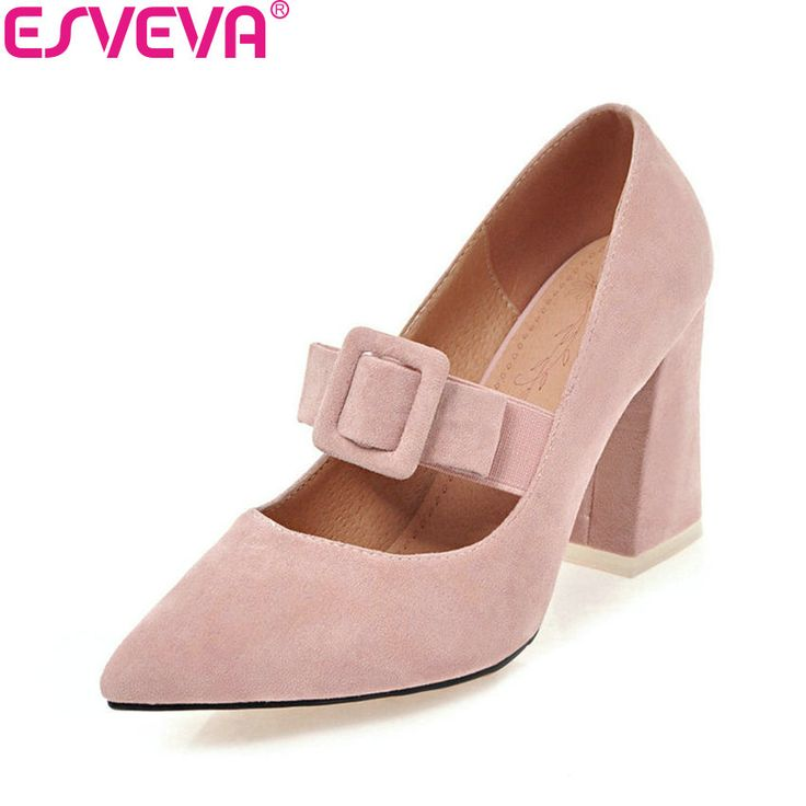 Cheap Women's Pumps, Buy Directly from China Suppliers:ESVEVA 2018 Women Pumps Pointed Toe Sweet Style Suede Square High Heels Elegant Buckle Strap Shallow Ladies Shoes Size 34-43