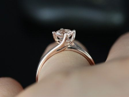 Souffle 14kt Rose Gold Round Morganite Single Twist Kite Solitaire Engagement Ring (Other metals and stone options available). $375.00, via Etsy.