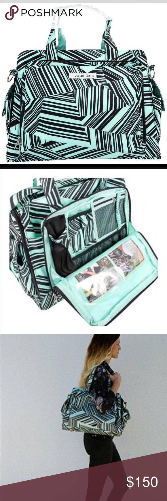 Jujube- Be prepared bag-Mint ((discontinued print) Jujube Be Prepared bag**🖤🖤THIS IS A MUST HAVE🖤🖤**Comes w/cross body strap, matching changing pad and brand new name tag in mint print(to match the bag) as well. I loved this bag, it's very roomy, pockets, easy to clean, insulated & more. My son is growing up and the need for this bag is not needed. It's used but in Great condition. Has lite scuff marks on front&bottom of bag. i would rate the overall appearance a 9 out of 10(9 due to the…