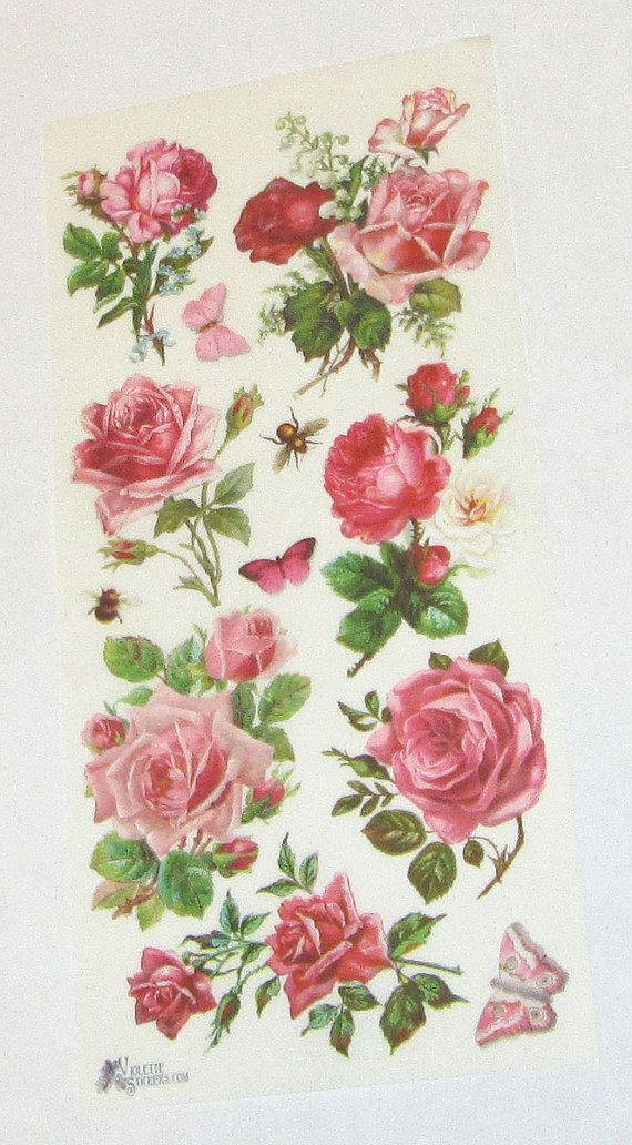 new Victorian Violette beautiful pink flowers roses butterflies stickers for crafts scrapbooking cards gifts scrap booking collage decoupage