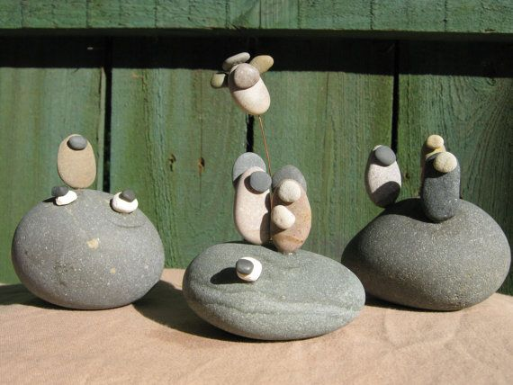 River Stone Nativity Set di kcLinn su Etsy