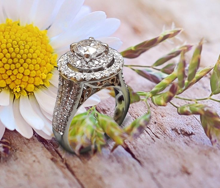Linara Intricate Double Halo Diamond with Tiger Claw Prongs & Triple-Row Pavé in 18k White/Yellow Gold