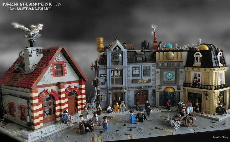 Castor Troy  -  Paris Steampunk 1889 - Les Métalleux  -  I want to build a new area with coal shed and welding workshop. You can see on the right the house of master blacksmiths. For this MOC I work again on the angle and different style of wall.